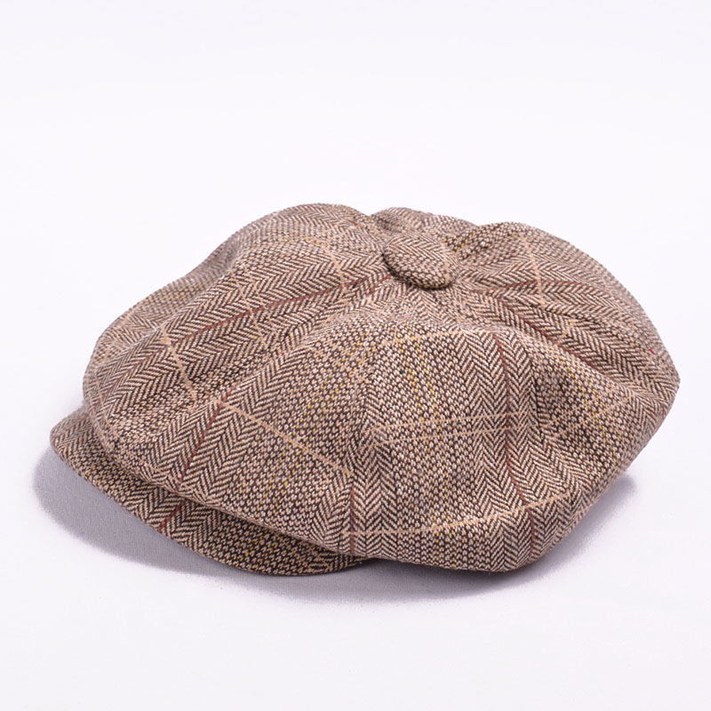 6cd3fb84 Autumn Winter Beret Caps herringbone tweed newsboy cap men Octagonal Cap  flatcap, travel flat cap hat boina masculina -in Newsboy Caps from Apparel  ...