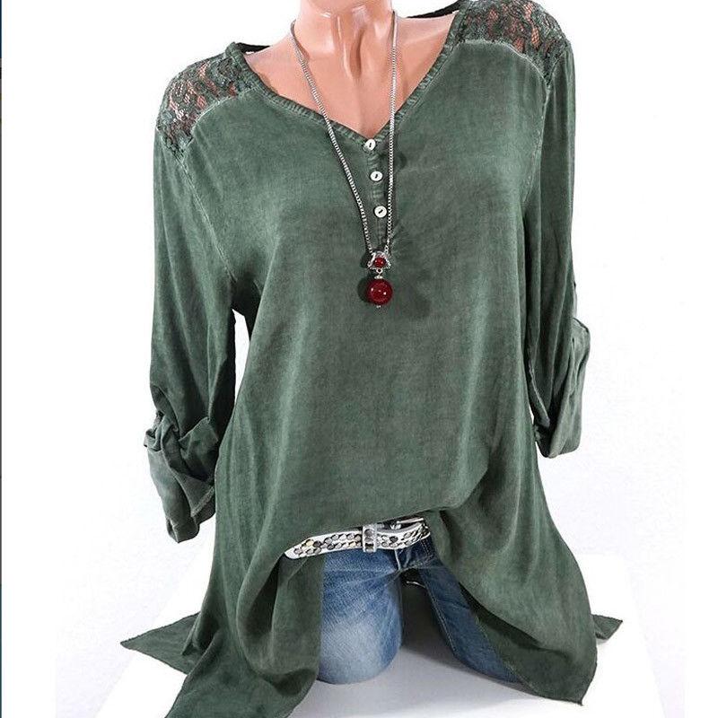 Fashion Women Shirts 2018 Lace Blouse Sexy Loose Long Sleeve V Neck Tops Blouse Shirt Casual Comfy Tops Shirt