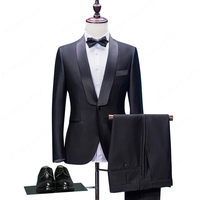 HB058 Tailored One Button Black Groom Tuxedos Slim Fit Tailored Suit Shawl Lace Lapel Wedding Suits For Men (Jacket+Pants+Bow)