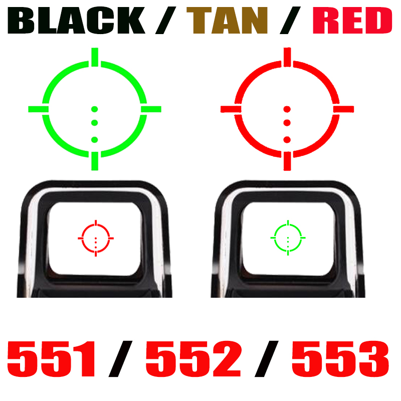 Tactical 552/551/553 Collimator Holographic Sight Red Dot Optic Sight Reflex Sight Shot gun with 20mm Rail Mounts Red/Black/Tan