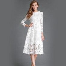 Zmvkgsoa summer lace dress women hollow out long sleeves girls casual midi elegant style ladies dresses 2017 vestidos