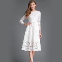 Zmvkgsoa Summer Lace Dress Women Hollow Out Long Sleeves Girls Casual Midi Elegant Style Ladies Dresses