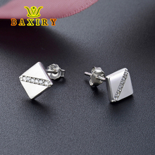 Pendientes 925 Sterling Silver Earrings Fashion Jewelry Gifts For Women Funny Simple Square Stud Earring Cubic Zirconia Aretes
