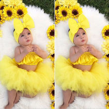 Cute Newborn Baby Girl Clothes Off-Shoulder Crop Tops+Tulle Skirt Outfit Summer