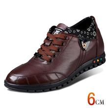 X1361 Newest Fashion Casual Calf Leather Heightening Elevated Shoes with Hidden Heels Grown Man Taller 6CM Invisibly More Colors