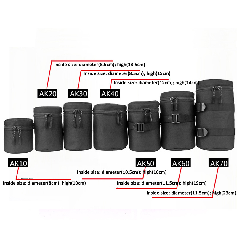 Deluxe Camera Lens Bag Waterproof Pouch For DSLR Nikon Canon Sony Olympus Lenses Case Soft Padded Lens Bag Pouch