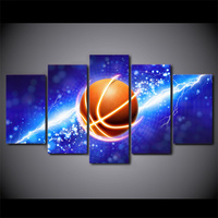 5 Piece HD Printed Lightning Basketball Framed Wall Picture Art Poster Painting On Canvas For Living Room Cuadros Vintage