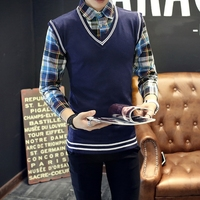 Autumn And Winter Men Fake Two Casual Pullovers Sweater Fashion Shirt Collar Sweater Blue White Gray