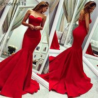 Cinderella Simple Style Red Sweetheart Sleevelss Zipper Back Mermaid Satin Prom Dresses Court Train Trumpet Party Prom Gown
