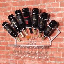 Iron wine rack hanging wall decoration grape wine shelf display rack goblet glass frame