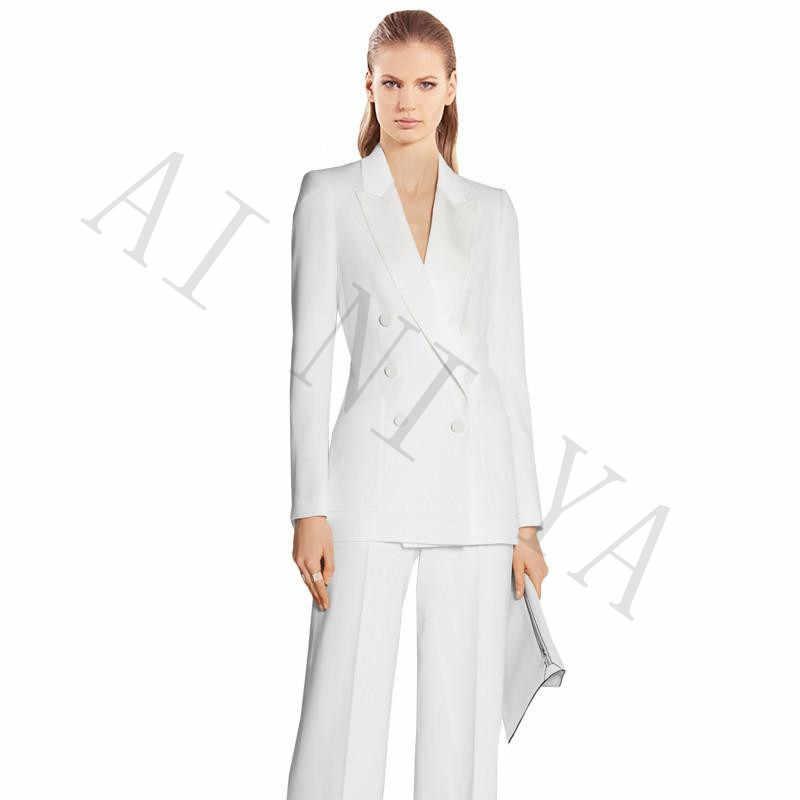 9f3dcf9d36e Куртка + Брюки для девочек Для женщин Бизнес Костюмы Белый двубортный  женский Офис форма вечерние женские