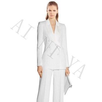Jacket+Pants Women Business Suits White Double Breasted Female Office Uniform Evening Formal Ladies Trouser Suit 2 Piece Suits