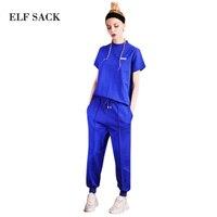 ELF SACK Summer Women 2018 Sportwear Short Sleeve 2 Piece Pants Sets Casual Solid Sweat Suits