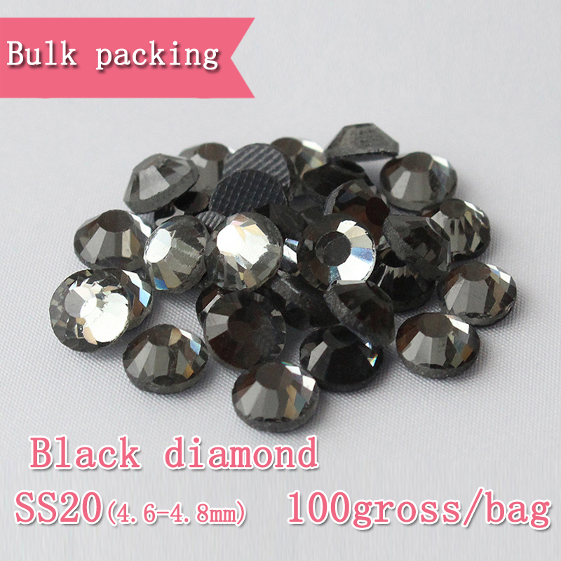 144 diamant noir hot fix fer sur strass strass