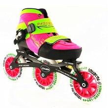 Встроенные скоростные коньки регулируемые, для детей регулируемые одиночные мыть обувь Встроенные роликовые коньки 3*110 мм 3 колеса