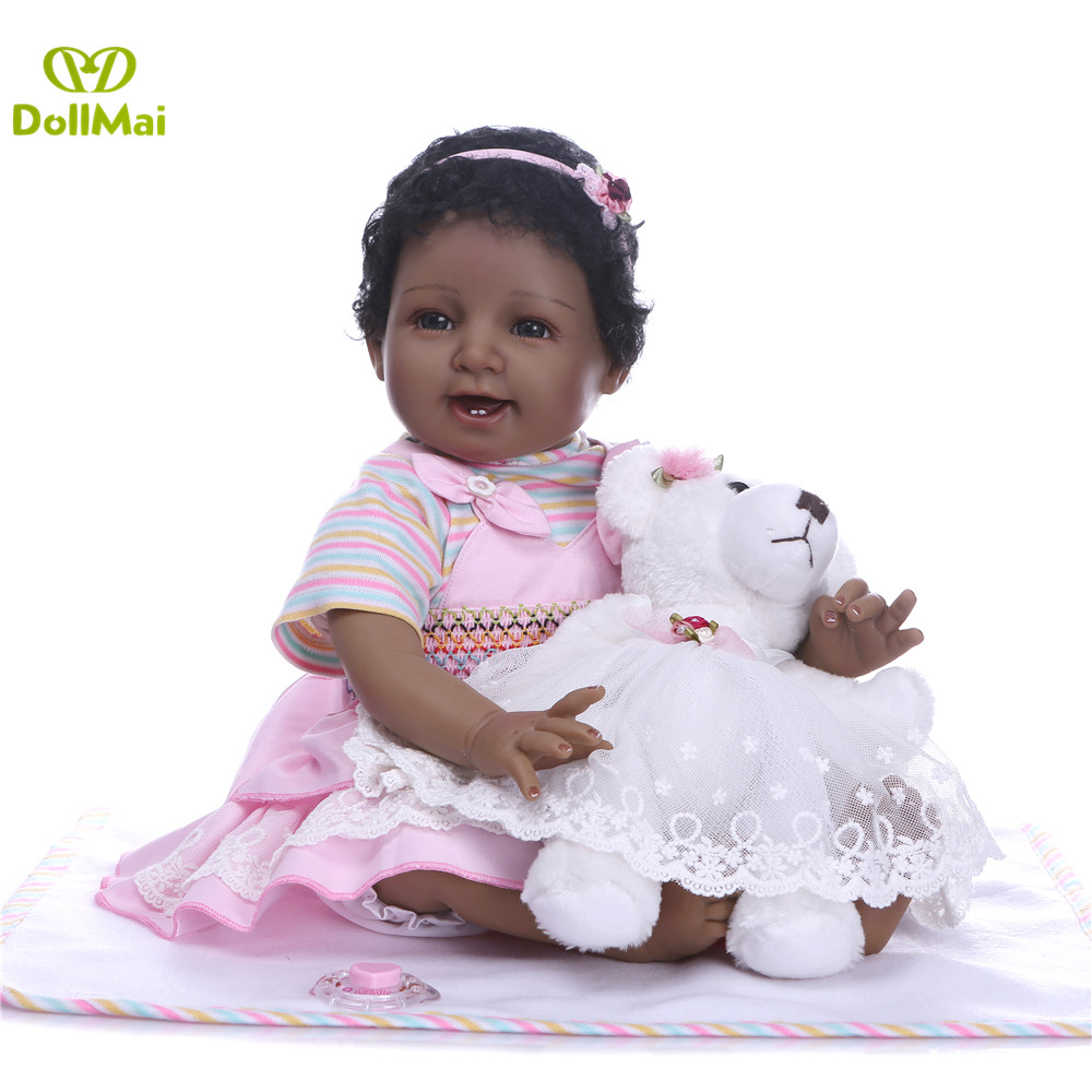22 55cm Silicone Reborn Baby Dolls Girls Black Skin Newborn Babies Alive Doll With Bear Plush Child Birthday Gift Toys Buy At The Price Of 71 22 In Aliexpress Com Imall Com