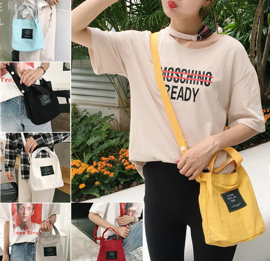 Pure Color cloth standard single shoulder bag soft girl candy color crossbody bags small female pink college wind Bags