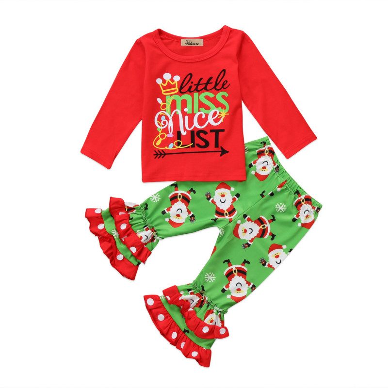 Christmas Kids Toddler Baby Girls Santa Clause Print Xmas Costume Clothing Cotton Blouse Tops Ruffles Long Pants Outfits Clothes dickens c a christmas carol level 4 книга для чтения