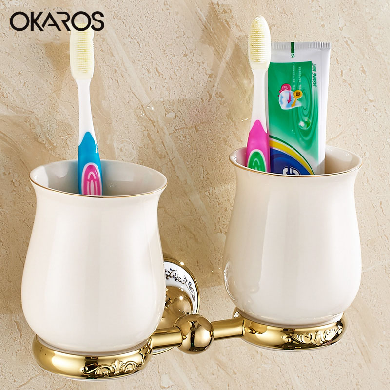 OKAROS Wall Mounted Bathroom Double Ceramic Cup Holder Toothbrush Tumbler Holder Chrome Gold Finish Bathroom  Accessories leyden new brass oil rubbed bronze double toothbrush tumbler holder wall mounted toothbrush holder with cup bathroom accessories