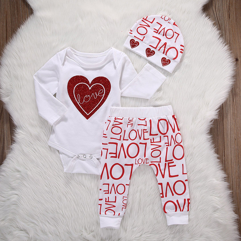 Valentine's Day Baby Girls Clothing Set Long Sleeve White Heart Bodysuit Harm Pants Hat 3pcs Toddler Kids Clothes Letter Print V-Day Baby Clothes (2)