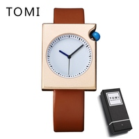 TOMI New Design Men Watch Luxury Brand Watches Quartz Clock Simple Fashion PU Leather Cheap Wistwatch