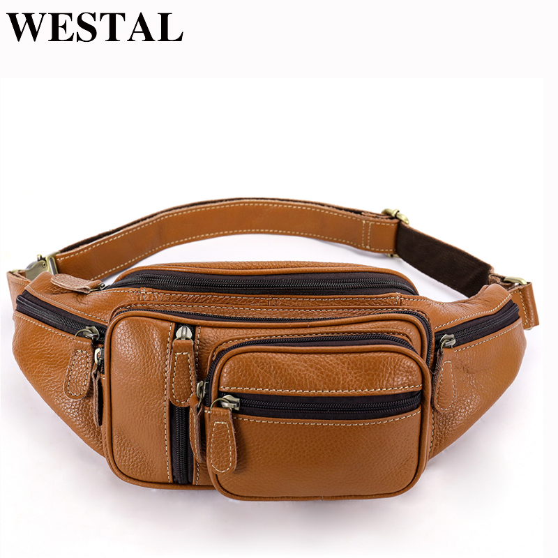WESTAL leather Travel Waist Pack Fanny Pack men Leather Belt Waist bag phone pouch high quality