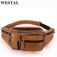 WESTAL cuir voyage taille Pack Fanny Pack hommes en cuir ceinture taille sac téléphone pochette haute qualité poitrine sac de messager pour homme 8336