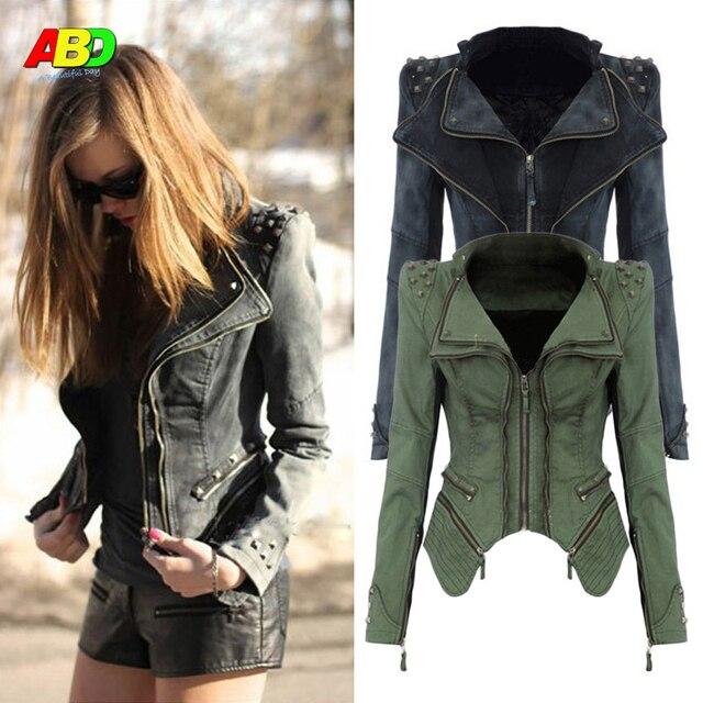 Moda Delgado Demin cremallera mujer abrigo manga de soplo con el Remache corta chaqueta de las mujeres de dos colores elección cjzwt000015