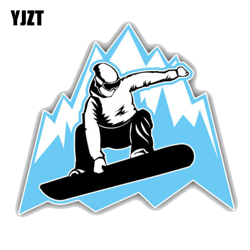 YJZT 12.7CM*11.1CM Snowboarder Mountain Jumping PVC Motorcycle Car Sticker 11-00347