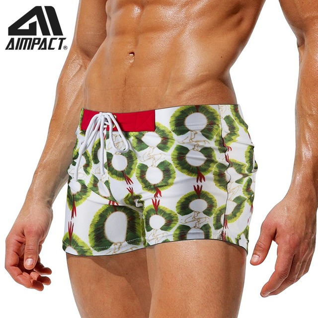 2019 New Fashion Swim Trunks for Men Print Beachwear Shorts New Sexy Square Leg Swimwears Summer Pool Bathsuit By Aimpact AM8105