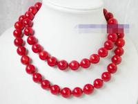 3483 round red natural coral Necklace