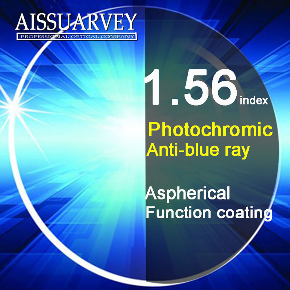 1 56 Index Aspherical Anti blue Ray Light Photochromic Lenses Cr 39 Anti glare Clear Gray