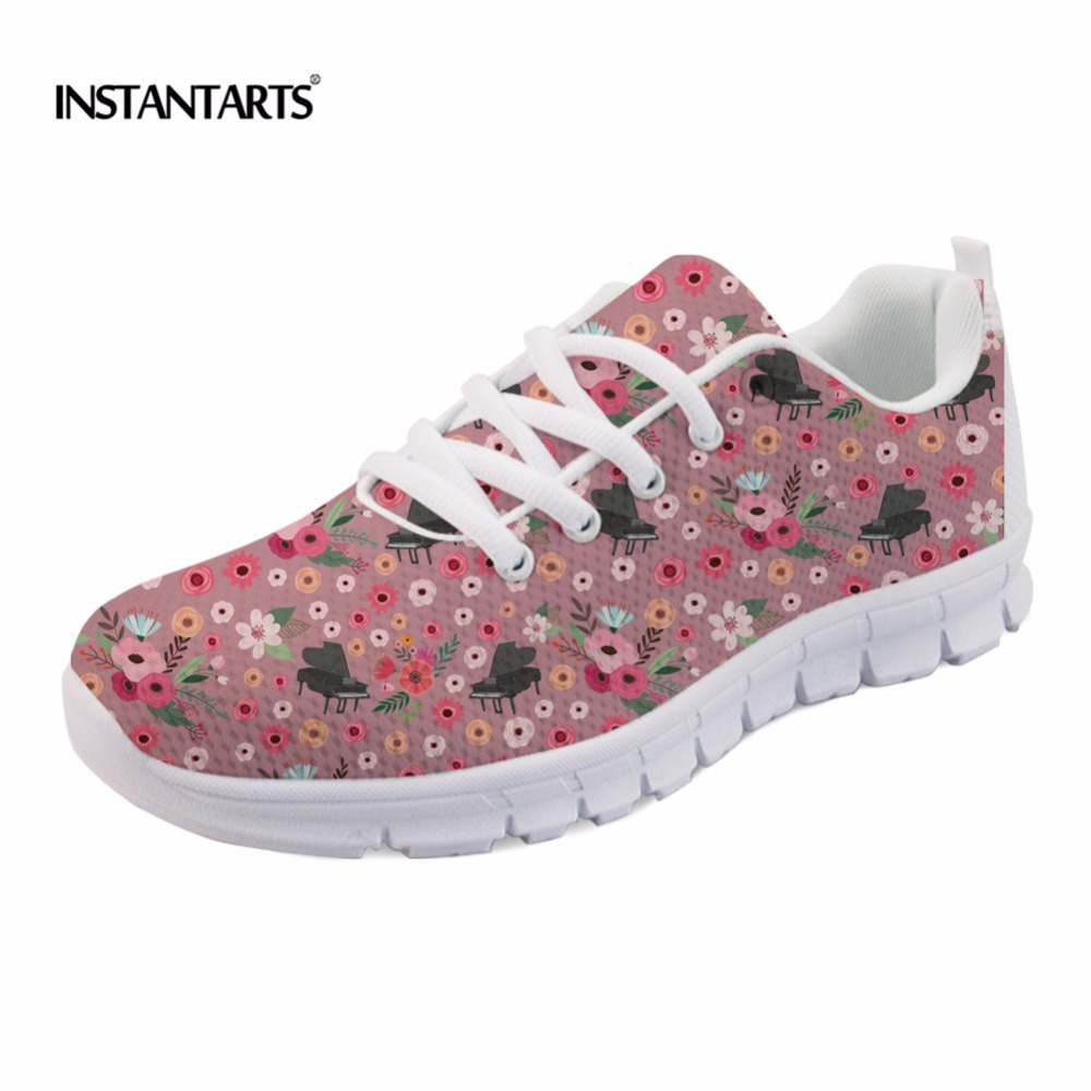 INSTANTARTS Funny Flower Piano Pattern Women Flats Shoes Casual Breathable Spring/Autumn Mesh Flats Shoes Fashion Female Sneaker instantarts fashion women flats cute cartoon dental equipment pattern pink sneakers woman breathable comfortable mesh flat shoes
