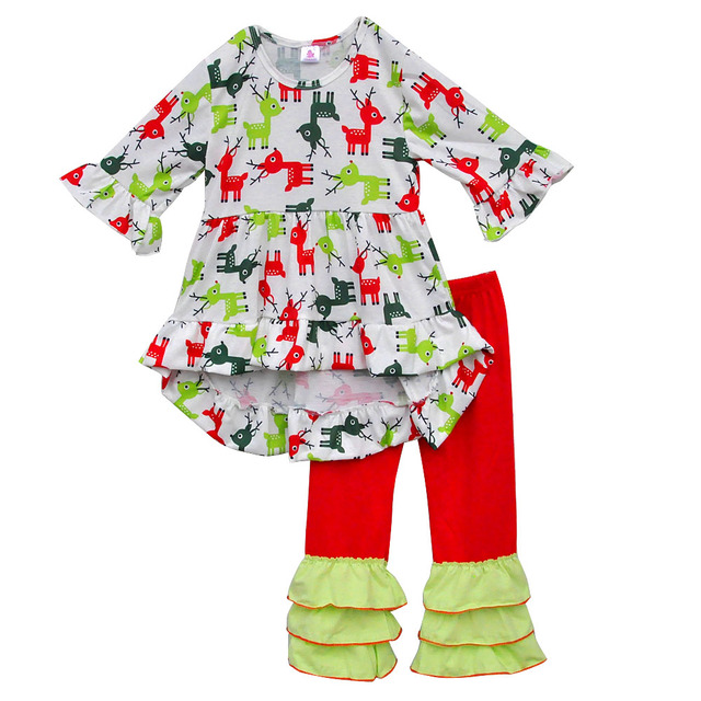 1b0c116b6 Factory Sale Girls Clothing Sets Girls Colorful Deer Printing Long Dresses  Ruffle Pants Boutique Children Outfits