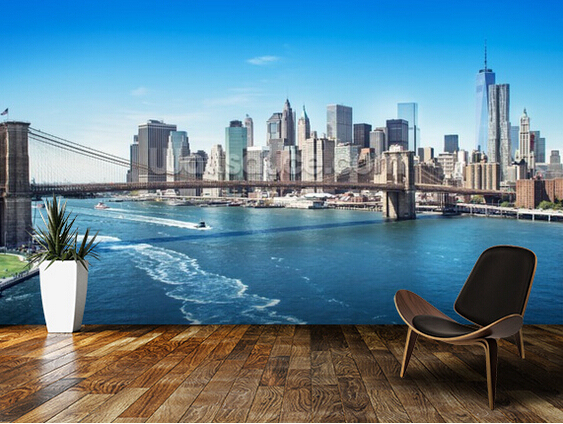 custom photo wallpaper new york brooklyn bridge skyline 3d stereoscopic wallpaper for living. Black Bedroom Furniture Sets. Home Design Ideas