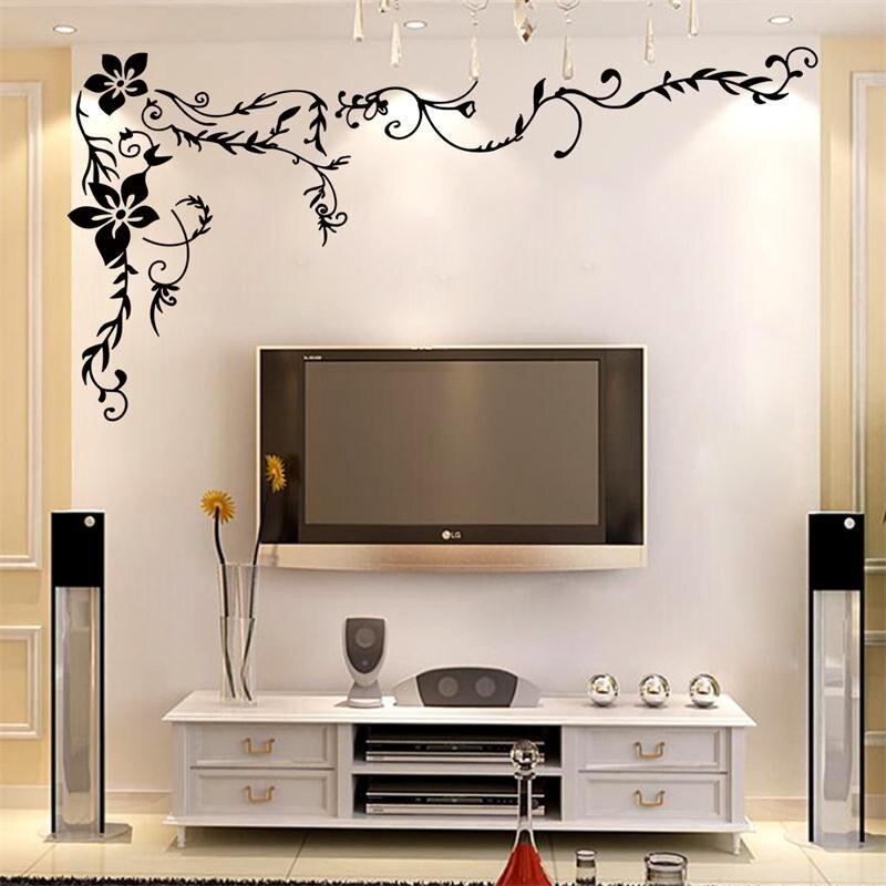 grande negro ka a branch flor de mariposa etiqueta de la pared de tv sala dormitorio decoracin del hogar decoracin de la boda