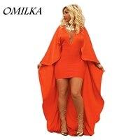 OMILKA 2018 Summer Women Long Sleeve Cape Party Bodycon Dress Sexy Orange Front Short Back Long Hi Low Club Party Dress Vestidos
