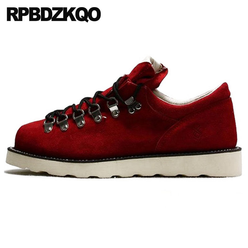 Red Outdoor Suede High Quality 2018 Lace Up Men's Shoes Luxury Booties Black Fall Boots Real Leather Designer Autumn Genuine