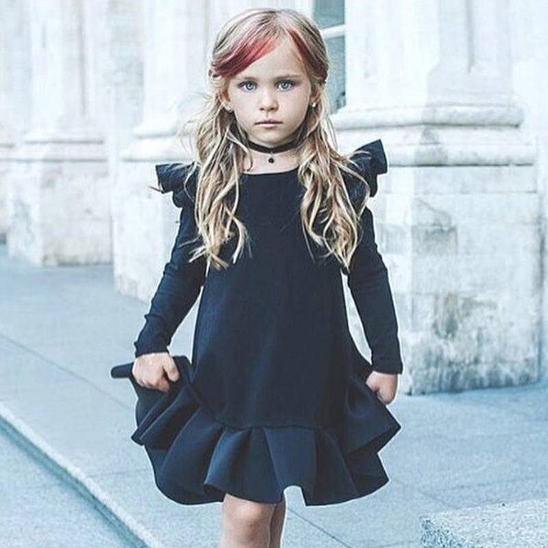 2018 New Winter Dresses for Toddler Girls Navy Blue Long Puff Sleeve Pleated Dress Kids Casual Dress toddlers girls dots deer pleated cotton dress long sleeve dresses page 10