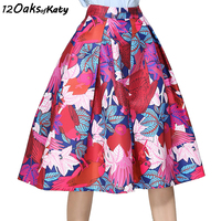 12 OAKS OF KATY Women Vintage Hepburn Style Midi Length Umbrella Skirt High Waist Retro Oil