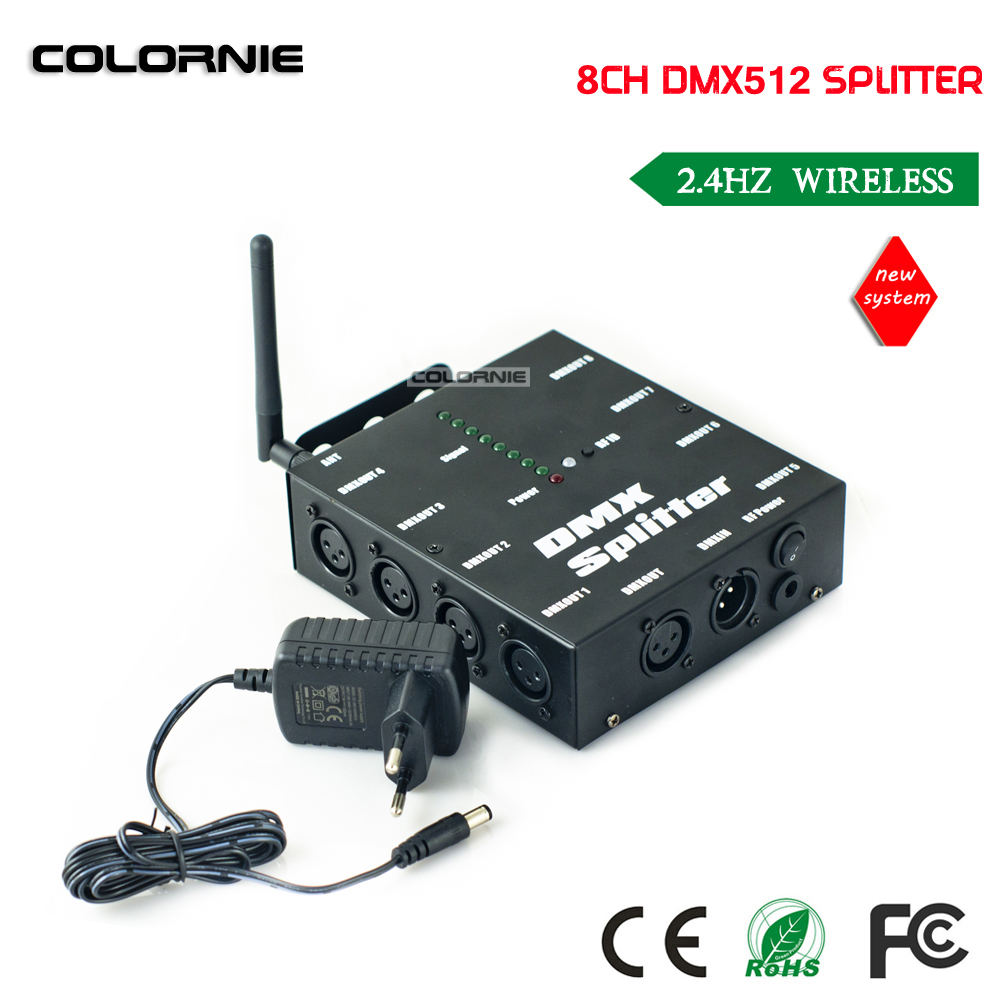DHL Free shipping Wireless DMX 8 Channel DMX Splitter DMX512 Light Stage Lights Signal Amplifier Splitter 8 way DMX Distributor цена