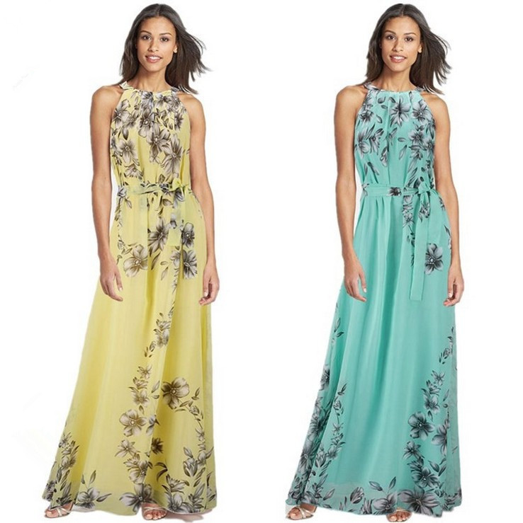 Plus Size S-6XL 2018 Summer New Women's Long Dresses Beach Floral Print Boho Maxi Dress With Sashes Women Clothing D86001L 1