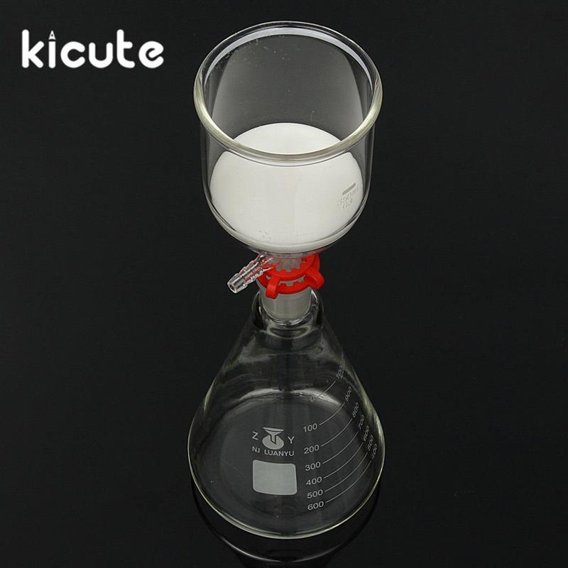 US $27 43 41% OFF|KiCute New 1000ml Glass Suction Filter Kit 350ml Buchner  Funnel 1 Litre Erlenmeyer Flask Laboratory Bottle School Lab Supplies-in