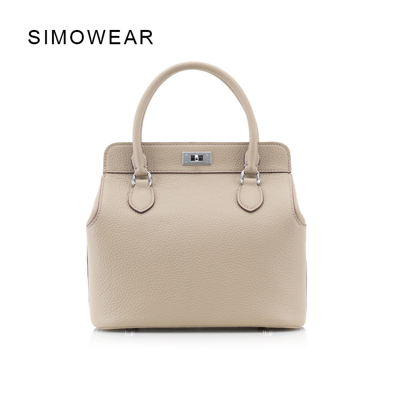 SIMOWEAR 2017 Women Famous Brands Luxury Brand Genuine Leather Bags Lock Handbags Shoulder Bag Crossbody Purse Toolbox Totes butterfly fish genuine leather alligator totes shoulder bags handbags women famous brands party crossbody messenger bag clutch