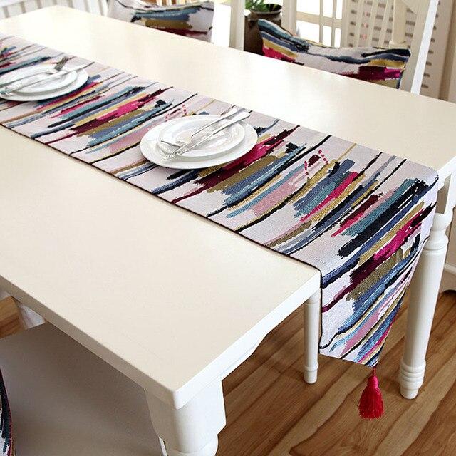 Morden Table Runner For Wedding Coffee Table Decoration Table Flag With  Tassel Red White Linen Jute