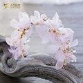 Lindo rosa de pérolas da menina de flor de seda hairband fascinator headpiece artesanal de cristal da coroa da noiva acessórios do cabelo do casamento lenghe