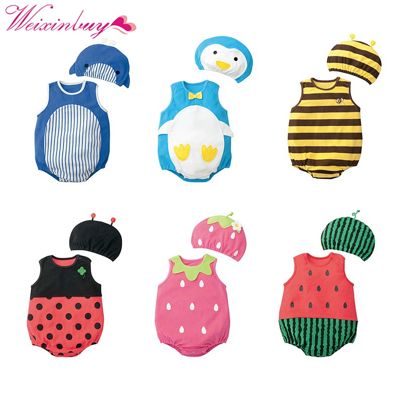 Cute Baby Clothes Cartoon Baby Boy Girl Rompers Cotton Animal And Fruit Pattern Infant Jumpsuit+Hat Set Newborn Baby Costumes M1 newborn baby boy gentleman rompers long sleeve cotton next baby infant jumpsuit girl clothes roupas de bebe infantil costumes