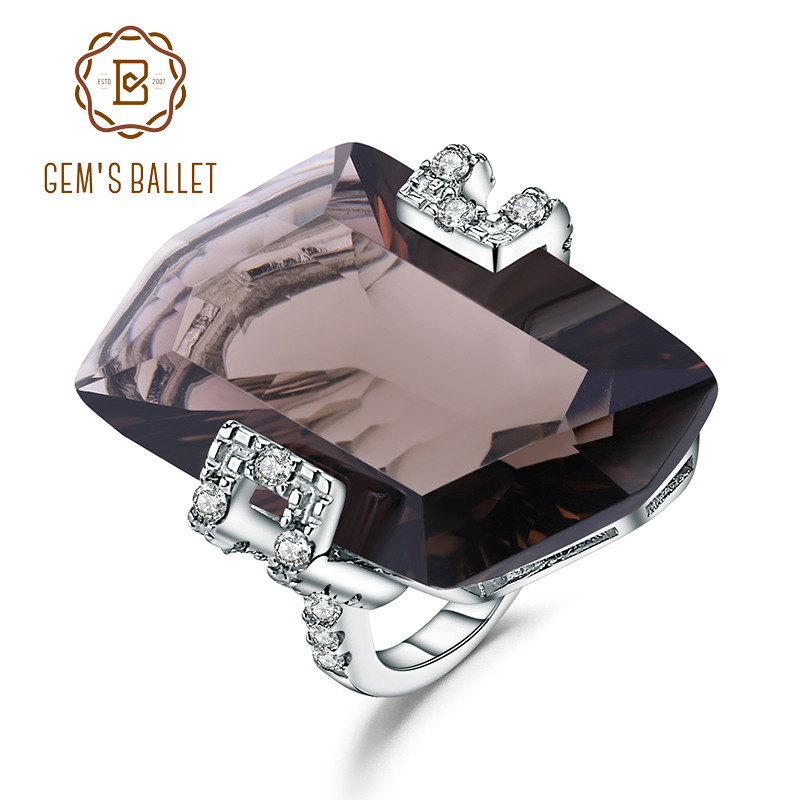 GEM S BALLET Luxury 925 Sterling Silver Vintage Cocktail Ring Natural Smoky Quartz Gemstone Rings For