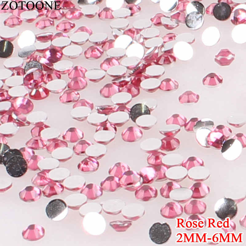 ZOTOONE Rose Resin Flatback Non Hotfix Nail Rhinestone For Clothes Applique Glue On Rhinestone Nail Art Decorations Strass E