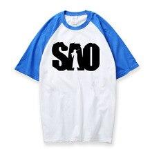Japenese Tshirt Fashion Anime Sword Art Online Shirts Cotton Raglan Sleeve SAO T Shirt Men 2018 New Summer Top Tee Camiseta Male